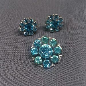 Vintage Blue Brooch & Clip Earrings Set